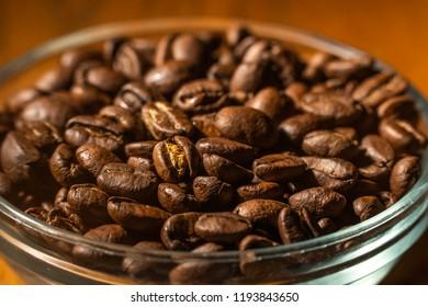 Dark Brown Coffee Beans in a Bowl