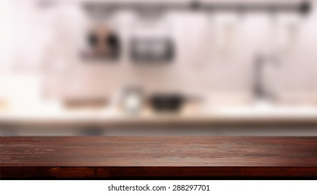 dark brown desk top in kitchen