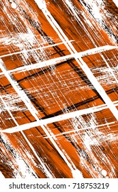 Dark brown grunge background. Black white orange old weathered surface in horror style. Dirty spots, cracks, splashes on old canvas. Abstract texture of a rusty aged surface. Light brown backdrop