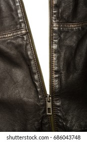 Dark brown leather jacket with the zip partly open and white inside