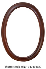 dark brown oval wooden picture frame with cutout canvas isolated on white background