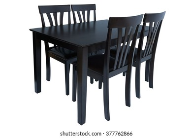 Dark brown table and chairs for kitchen, isolated on white background