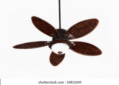 dark brown tropical wicker ceiling fan with light fixture