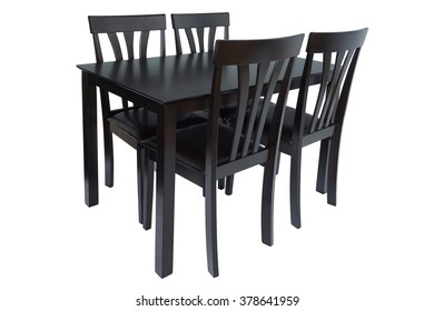 Dark brown wood kitchen table and four chairs, isolated on white background