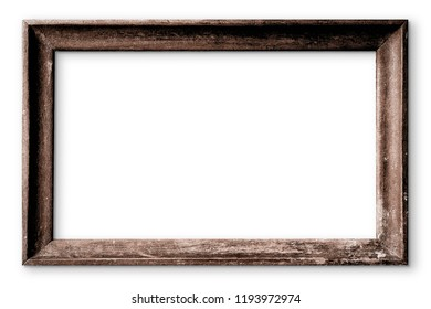 Dark brown wooden picture frame isolated on white background
