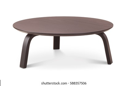 Dark brown wooden round coffee table, dinning table, magazines table. Modern designer, table isolated on white background. Series of furniture.