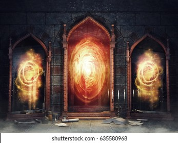 Dark chamber with magic mirrors, books and scrolls. 3D illustration.