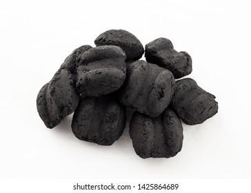 dark charcoal briquettes for bbq - black