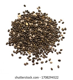 dark Chia seeds isolated on a white background. small grains of Spanish sage, similar to beans, taste like a nut, gray-white-black color with a relief pattern. health product