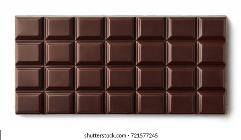 Dark chocolate bar isolated on white background from top view