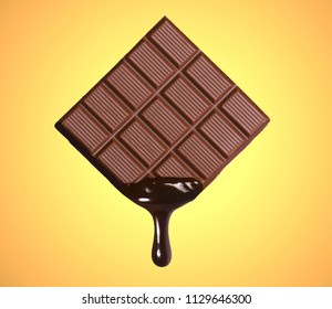 Dark chocolate bar and melted brewing drop on yellow background.