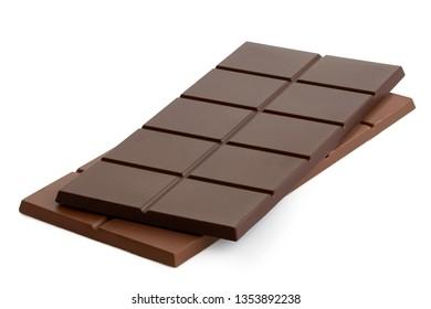 Dark chocolate bar on top of milk chocolate bar isolated on white.