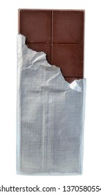 Dark chocolate bar in silver foil packaging top view isolated on a white background.