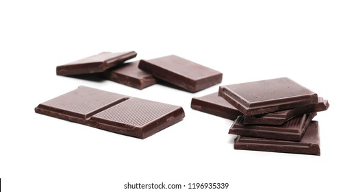 dark chocolate bars isolated on white background, 85 percent of cocoa