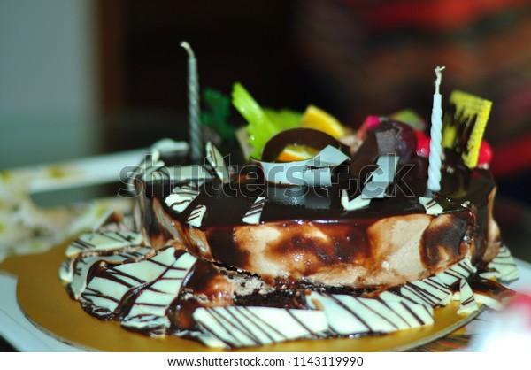 Remarkable Dark Chocolate Birthday Cake Stock Photo Edit Now 1143119990 Funny Birthday Cards Online Necthendildamsfinfo