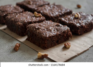 Dark chocolate brownie bars, pieces with walnuts