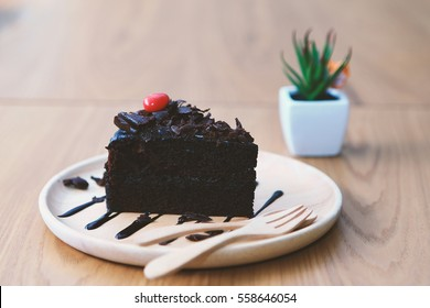 Dark chocolate cake, vintage tone