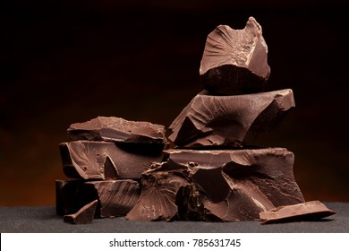 Dark chocolate  chunks isolated