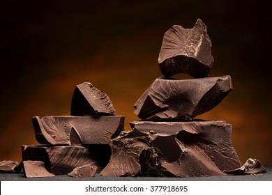 Dark chocolate / Chocolate chunks isolated / Chocolate bar pieces