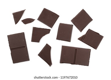 Dark chocolate with cocoa bars, pieces isolated on white background, top view