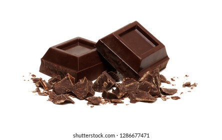 dark chocolate isolated on white