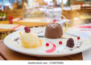 Dark chocolate lava cake and icea cream