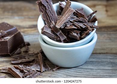 Dark chocolate rasped