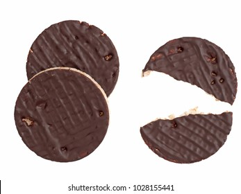 Dark chocolate rice cakes isolated on white! Delicious! Relatively low calorie.