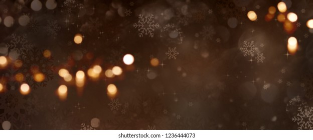 Dark christmas background with festive golden bokeh and tender snowflakes
