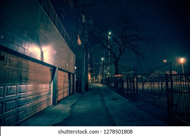 Dark city alley with car garage doors and a scary tree at night in Chicago