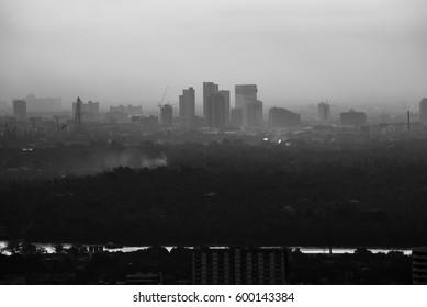 Dark city - silhouettes of  skyscraper