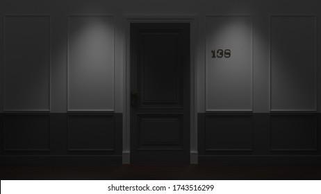Dark Closed Hotel Room Door