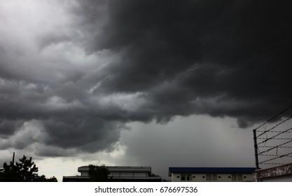 dark cloud before rain and storm