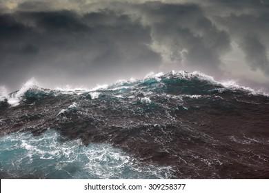 Dark clouds and crashing ocean waves during storm in the atlantic ocean