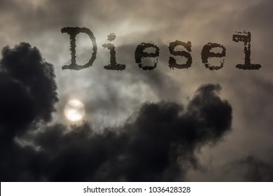 Dark clouds with the German word Diesel as a symbol of an environmentally damaging engine technology