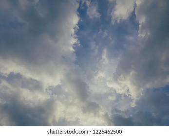 Dark clouds on a background of a blue sky. The rain is coming soon. Don't get lost in the cloud!