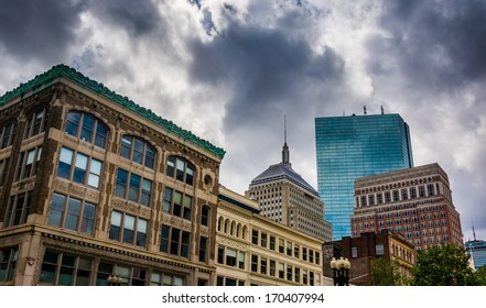 Dark clouds over buildings in Boston, Massachusetts.