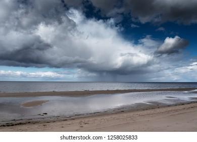 Dark clouds over gulf of Riga, Baltic sea.