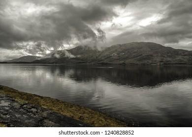 Dark clouds over lake Loch Linnhe in Scotland