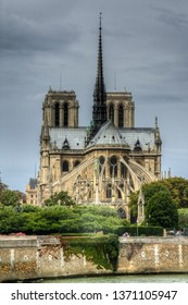 Dark clouds over Notre Dame cathedral, Paris, France