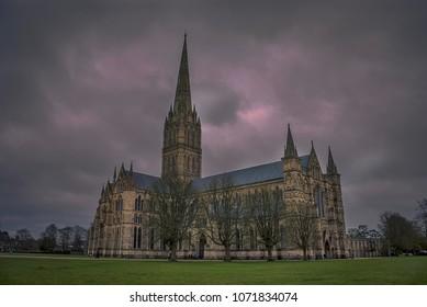 Dark clouds over Salisbury Cathedral in Wiltshire, UK