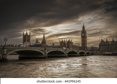 Dark clouds over the Thames River, House of Parliament and Westminster Bridge, view form River South Bank, London, United Kingdom.