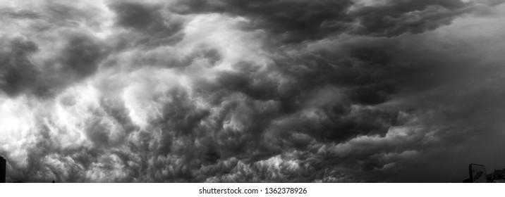 Dark clouds in panorama format