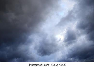 Dark clouds in the rainy sky