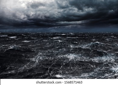 Dark Clouds and Strong Stormy Winds at Ocean