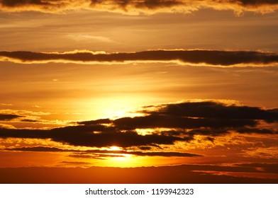Dark clouds at sunset