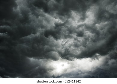 Dark clouds in thunderstorm