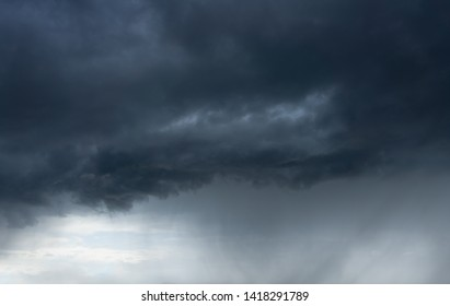 dark cloudscape with stormy clouds and rain
