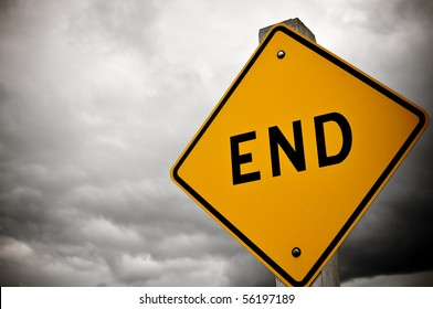 Dark and Cloudy Dead End Sign