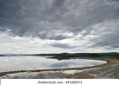 Dark cloudy sky with coast in Northern Norway